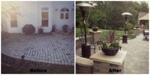 Backyard patio before and after.